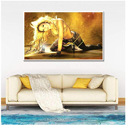mmwin Shakira Poster Latin Rock Alternative Female Singer Wall Art Prints Canvas Painting Pictures for Girls Room Decor-20X30 Inch Frameless