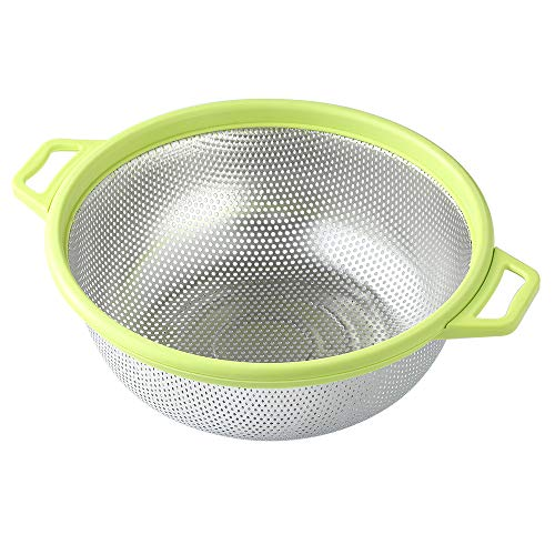 """Stainless Steel Colander With Handle and Legs, Large Metal Green Strainer for Pasta, Spaghetti, Berry, Veggies, Fruits, Noodles, Salads, 5-quart 10.5"""" Kitchen Food Mesh Colander, Dishwasher Safe"""
