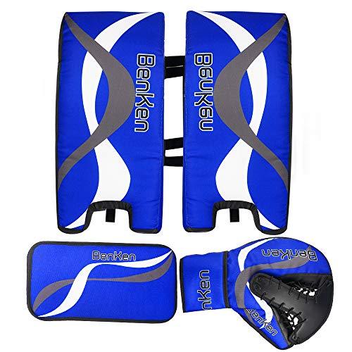 BenKen Sports Ice Hockey Gear Goalie Pad Pack Ice Hockey Equipment Hockey Gloves ice Hockey Knee Pads Teenager & Adult Blue Black (Blue 21'')