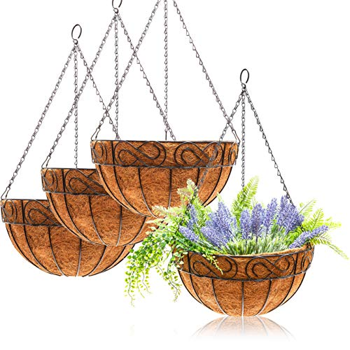 Metal Hanging Flower Planter Basket with Coco Coir Liner, Home and Garden Decor (14 in, 4 Pack)