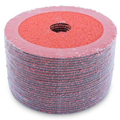Black Hawk Ceramic Resin Fiber Grinding & Sanding Discs, 24 Grit, 5-Inch x 7/8-Inch Arbor, Pack of 25