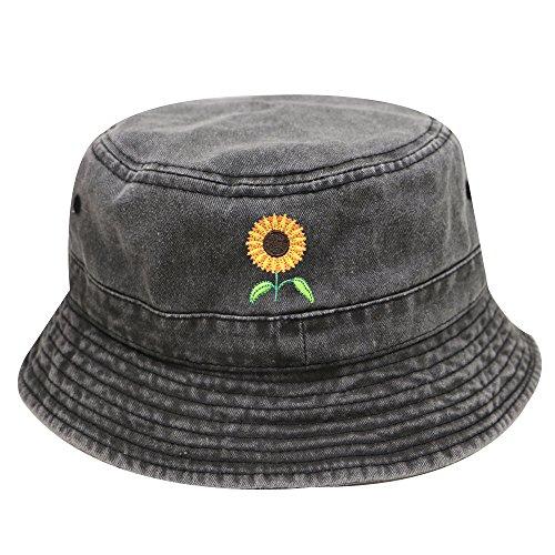 City Hunter Bd2020 Sunflower Vintage Washed Summer Bucket Hats - Multi Colors (Dark Gray)