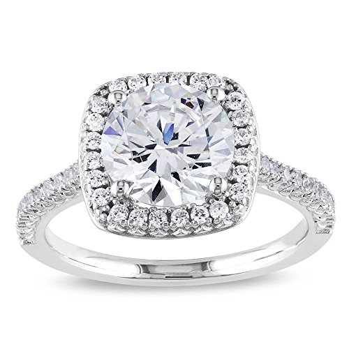 PORI JEWELERS Sterling Silver Cushion Cut Halo Solitaire Engagement Ring- 2.45 Cttw CZ (White, 5)