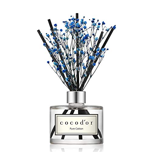 Cocod'or Preserved Real Flower Reed Diffuser, Pure Cotton Reed Diffuser, Reed Diffuser Set, Oil Diffuser & Reed Diffuser Sticks, Home Decor & Office Decor, Fragrance and Gifts, 6.7oz