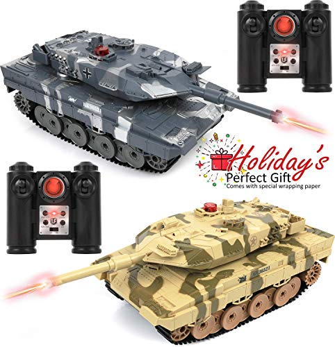 "Click N' Play RC Battle Tank Infrared Full Size 15"" Tanks with LED Indicators Rotating Turret Detailed Designed Realistic Lights and Sounds Single and Multi-Player Modes (Set of 2)"