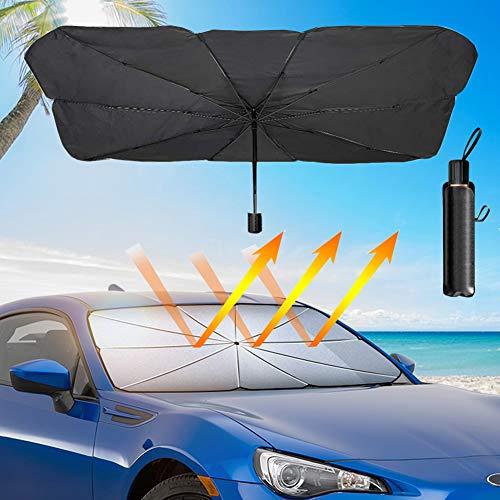 SUNACCL Car Windshield Sun Shade Umbrella, Foldable Car Sun Umbrella for Windshield Sun Protection Umbrella Front Sunscreen Visor Block UV Fits Most Vehicle Models