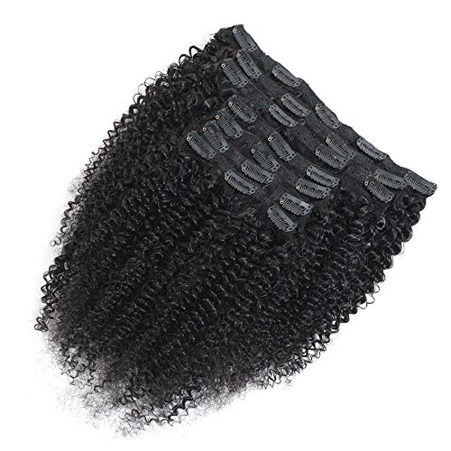 10 Inch Afro Kinky Curly Clip In Hair Extensions Human Hair Brazilian Virgin Hair Clip Ins For Black Women (10, Afro Kinky Curly)