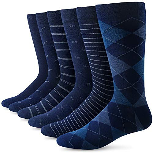 Yousu Men Dress Socks Comfortable Business Casual Knit Solid Pattern Cotton Crew Sock 6 Pairs Blue