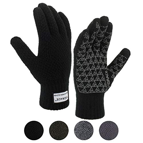 Winter Warm Touchscreen Gloves for Men and Women Touch Screen Fleece Lined Knit Anti-Slip Wool Glove