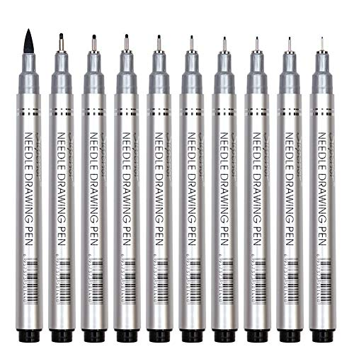 10 Pcs Precision Micro-Line Pens, Fineliner, Multiliner, Black Waterproof Archival Ink, Artist Illustration, Anime, Sketching, Technical Drawing, Office Documents&Scrapbooking, Manga Pens Writing