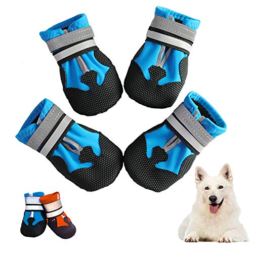 Generic Brands Dog Shoes Waterproof Dog Boots, Reflective Pet Paw Protectors with Adjustable Self-Adhesive Straps, Doggy Footwear with Rugged Anti-Slip Sole for Medium Large Dogs(Blue,L)
