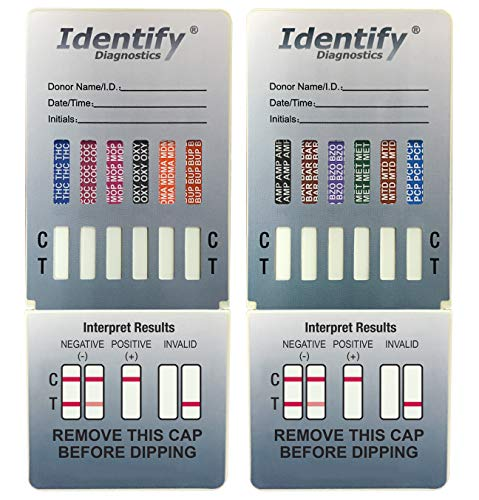 25 Pack Identify Diagnostics 12 Panel Drug Test Dip - Testing Instantly for 12 Different Drugs THC, COC, MOP, OXY, MDMA, BUP, AMP, BAR, BZO, MET, MTD, PCP ID-CP12-DIP (25)