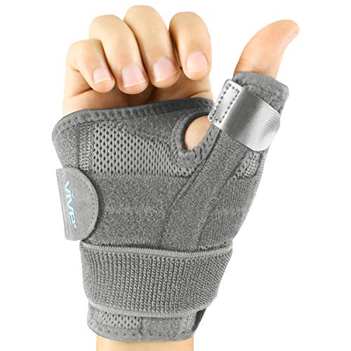 Vive Arthritis Thumb Splint - Thumb Spica Support Brace for Pain, Sprains, Strains, Arthritis, Carpal Tunnel & Trigger Thumb Immobilizer - Wrist Strap - Left or Right Hand (Gray)