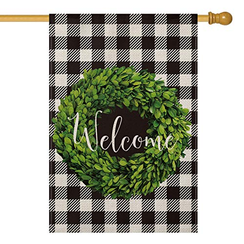 AVOIN Fall Boxwood Wreath Welcome House Flag Vertical Double Sided, Buffalo Check Plaid Rustic Farmhouse Burlap Flag Yard Outdoor Decoration 28 x 40 Inch