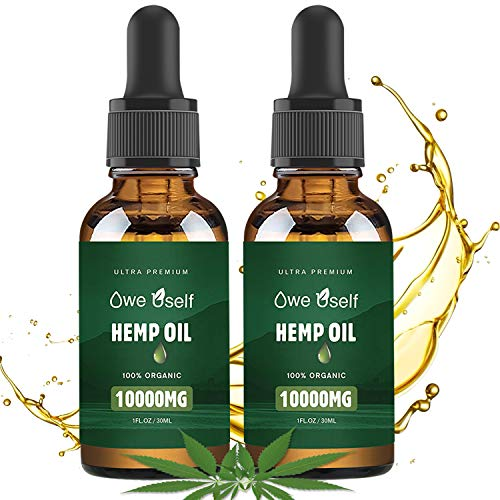 (2-Pack) Hemp Oil - 10000mg Hemp Oil Extract, Pure Extract, Vegan Friendly, Helps with Skin & Hair, Non-GMO - Orange Hemp Flavor