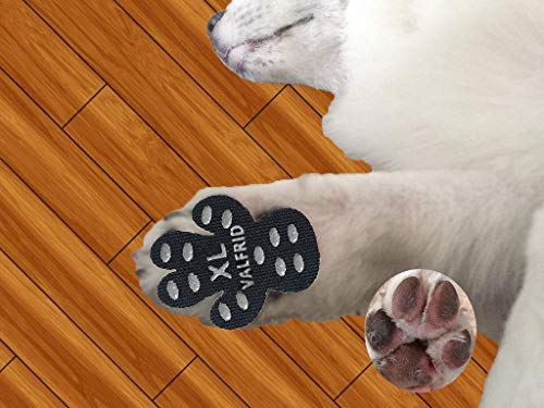 VALFRID Dog Paw Protector Rugged Anti Slip 24 Pieces,Disposable Self Adhesive Resistant Dog Shoes Booties Socks Replacemen XL