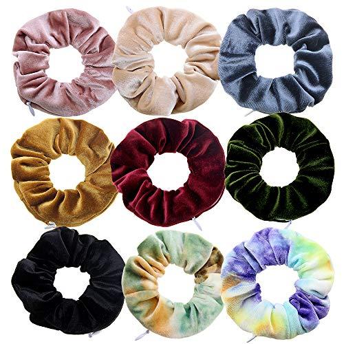 Miuance 9 Pieces Zipper Pocket Hair Scrunchies with Hidden Pocket,Money Key Chapstick Storage Bag Wallet for Women Girls Elastic Hair Accessories