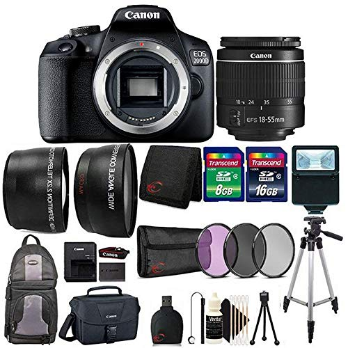 Canon EOS 2000D / Rebel T7 Digital SLR Camera Kit with EF-S 18-55mm f/3.5-5.6 III Lens with Backpack and Canon 100es Bag + Top Value Accessory Bundle
