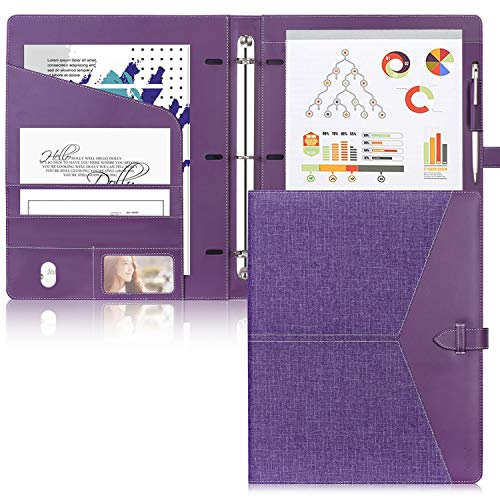 Toplive Padfolio 3 Ring Binder (1'' Round Ring) Business Portfolio Folder for Interview, Conference and Presentation, Purple