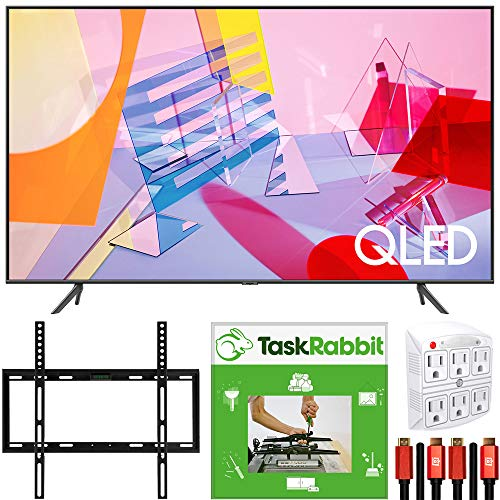 SAMSUNG QN65Q60TA 65-inch Class Q60T QLED 4K UHD HDR Smart TV (2020) Direct Full Array 4X Bundle with TaskRabbit Installation Services + Deco Gear Wall Mount + HDMI Cables + Surge Adapter