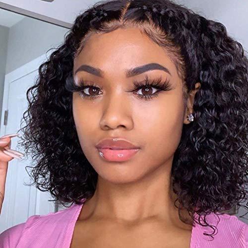 Jaja Hair Deep Wave Short Bob Wigs Human Hair 4x4 Lace Front Wigs for Black Women 150% Density Brazilian Virgin Hair Deep Curly Wavy Bob Wigs Pre Plucked with Baby Hair Natural Black 14 Inch