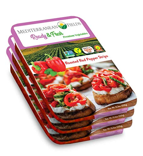 Ready Fresh Packaged Vegetables & Meals, Roasted Red Pepper Strips - 3 Pack. All Natural, Vegan, Plant Based, Non GMO, Keto Friendly, and Gluten Free