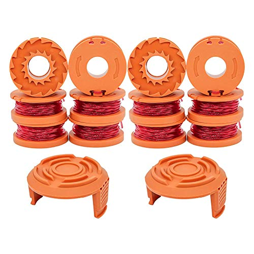 WA0010 Trimmers Spool Line 10ft 0.065',Compatible with Worx Trimmer/Edger Weed Eater WG180 WG163,with WA6531 Spool Cap Covers (12 Line Spools+2 Cap)