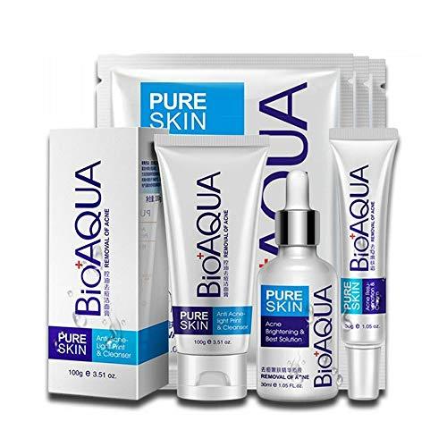 BIOAQUA 4in1 Face Acne Treatment Scar Removal Spots Whitening Oil Cream Face Masks Scar Blemish Marks Moisturizing Oil 100g+30g+30ml+4pcs X30g