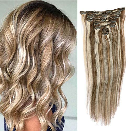 Remy Clip in Hair Extensions Blonde Balayage 70grams 15' Short Straight Human Hair Extensions Clips in Medium Brown to Bleach Blonde Highlights 7 Pieces(#4/613)