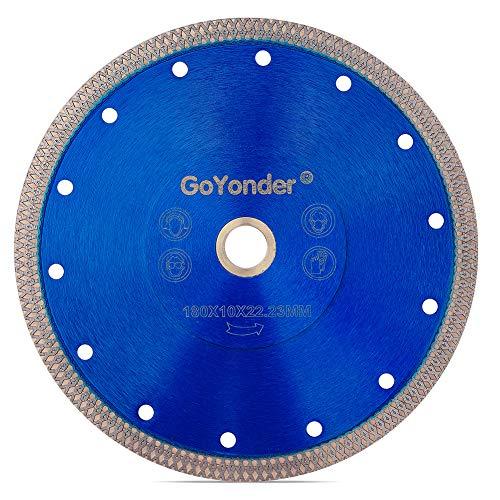 GoYonder 7 Inch Super Thin Diamond Saw Blade for Cutting Porcelain,Tiles,Granite, Marble,Ceramics (7'-Blue)