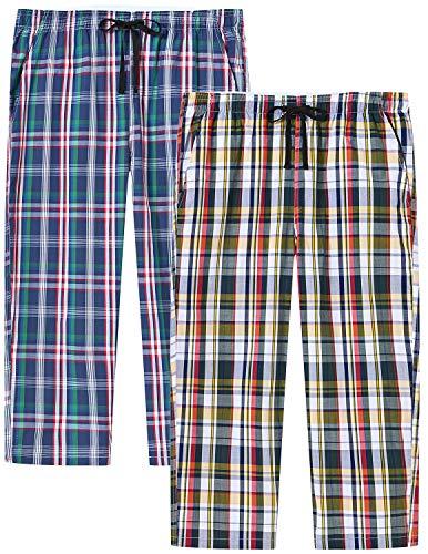 AjezMax Womens Plaid Pajama Bottoms Pajama Pants Sleep Pants Cotton with Pockets Pack Capri Pants,2XL