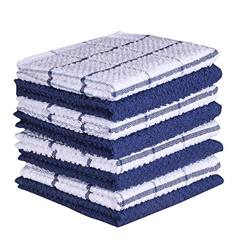 Amour Infini Terry Dish Cloth | Set of 8 | 12 x 12 Inches | Super Soft and Absorbent |100% Cotton Dish Rags | Perfect for Household and Commercial Uses | Blue