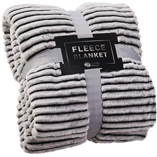GREEN ORANGE Fleece Throw Blanket for Couch – 50x60, Lightweight, Black and White – Soft, Plush, Fluffy, Warm, Cozy – Perfect for Bed, Sofa