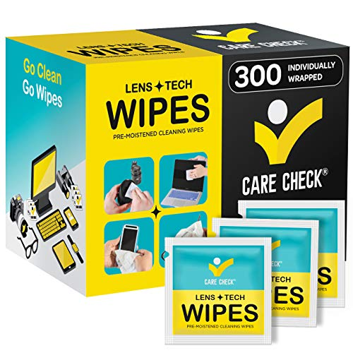 Care Check Lens Wipes, 300 Pre-Moistened Cleaning Wipes for Cameras, Laptops, Cell Phones, Eyeglasses, Other Screens and More