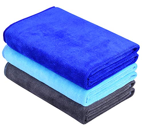 HOPESHINE Microfiber Sports Towel Soft Travel Towels Fast Drying Gym Towels 3-Pack 16inch X 32inch (Dark Blue+Light Blue+Grey)