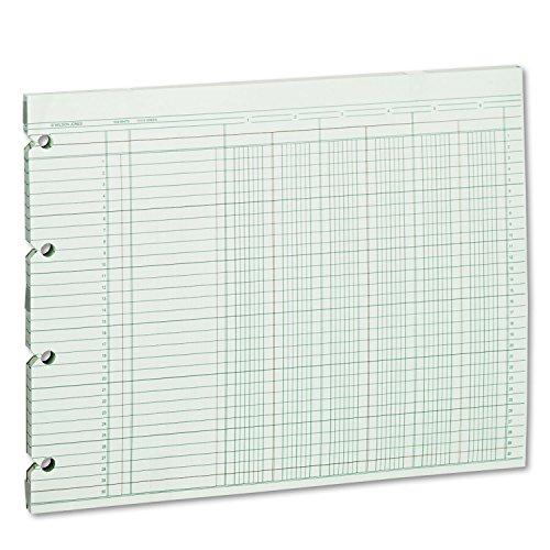 Wilson Jones G106 Accounting Sheets, Six Column, 9-1/4 x 11-7/8, 100 Loose Sheets/Pack, Green