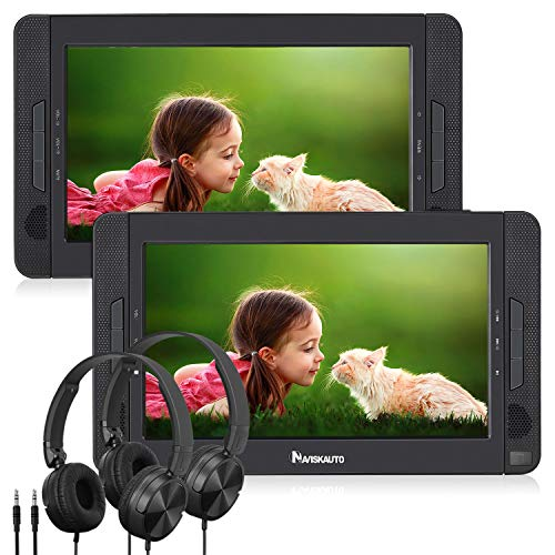 NAVISKAUTO 10.5' Portable DVD Player Dual Screen for Car, Headrest Video Player with USB/SD/MMC Card Readers, Last Memory, 5-Hour Rechargeable Battery and Region Free