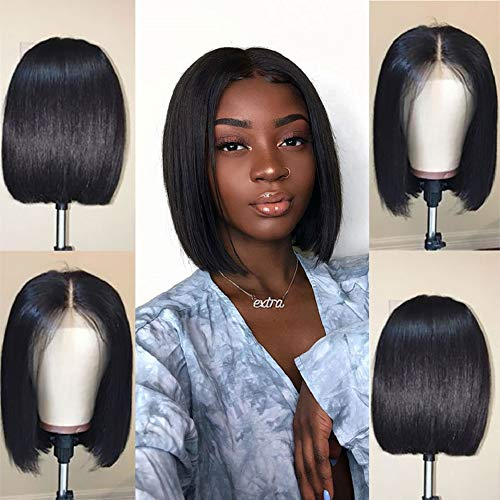 Jaja Hair Short Straight Bob Wigs Human Hair 13x4 Lace Front Wigs for Black Women 130% Density Pre Plucked with Baby Hair Natural Black Color 14 Inch