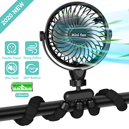 Portable Handheld Fan, 2200mAh Battery Powered Clip-on Personal Desk Baby Fan Air Circulator Fan with Flexible Tripod, Ultra Quiet 4 Speed 360° Rotatable USB Fan for Stroller/Bike/Camping/BBQ/Gym