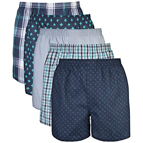Gildan Men's Woven Boxer Underwear Multipack, Assorted Navy, Small