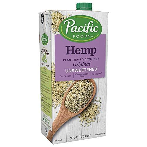 Pacific Foods Hemp Original Unsweetened Plant-Based Milk, Keto Friendly, 32 Fl Oz (Pack of 12)