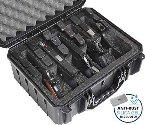 Case Club Waterproof 5 Pistol and 18 Magazine Case with Silica Gel to Help Prevent Gun Rust