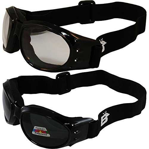 Two (2) Pairs Birdz Eagle Padded Motorcycle Goggles Airsoft Googles Comes with Clear, Polarized Smoke, Day and Night riding comfort You Should Have Googles For Any Weather Condition