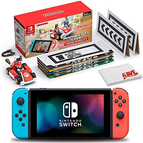 Nintendo Switch (Neon Blue/Red) Bundle with Mario Kart Live: Home Circuit (Mario Set) + 6Ave Cleaning Cloth