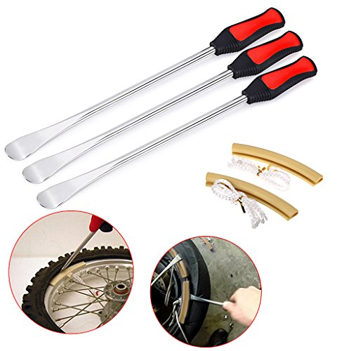 Sumnacon Tire Levers Spoon Set, Heavy Duty Motorcycle Bike Car Tire Irons Tool Kit,3 Pcs Tire Changing Spoon + 2 Pcs Rim Protector