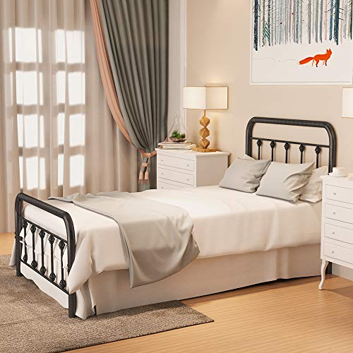 RINKMO Metal Bed Frame Twin Size with Vintage Headboard and Footboard, Premium Stable Steel Slat Support Mattress Foundation, No Box Spring Needed and Easy Assembly