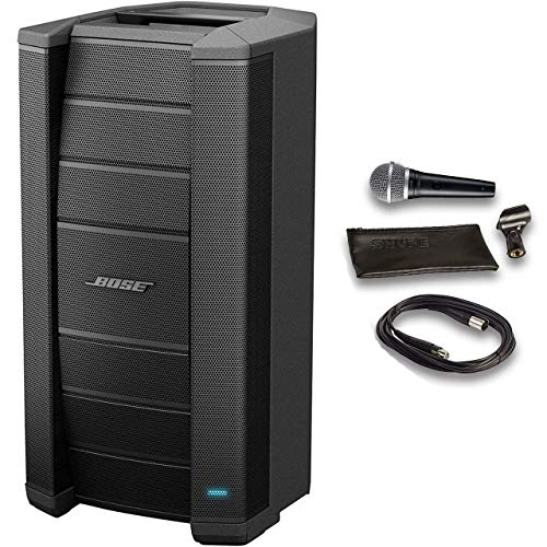 Bose F1 Model 812 Flexible Array Loudspeaker Bundle with Shure Microphone, 15ft Cable and Accessories (5 Items)