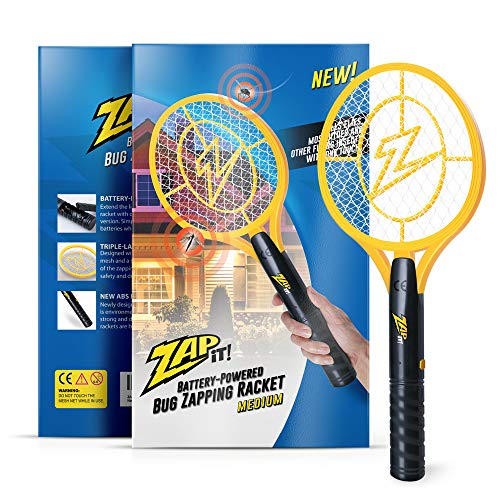 ZAP IT! Bug Zapper - Battery Powered (2xAA) Mosquito, Fly Killer and Bug Zapper Racket - 3,500 Volt - Safe to Touch (Medium,Yellow)
