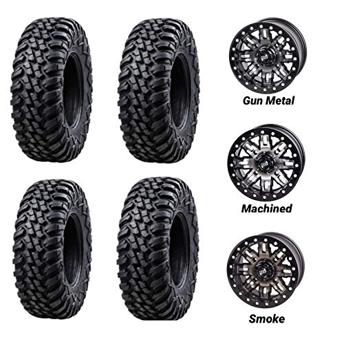 Bundle - Four 30x10-14 Tusk Terrabite 8 Ply Radial DOT UTV Tires Mounted on Tusk Teton Beadlock Wheels -For CAN-AM MAVERICK X3-4/137 Bolt Pattern - Includes Lug Nuts (5+2 Wheel Offset, Gun Metal)