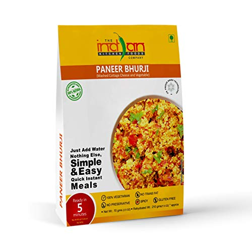 The Indian Kitchen Foods Co. Mashed Cottage Cheese and Vegetable (Paneer Bhurji) - Freeze Dried Gluten-Free Gourmet Indian Entree Ready in 5 min Vegetarian Meal - Rehydrated 7.50 oz